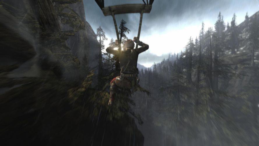 Tomb Raider Lara Croft Parachute Forest Mountains Sun wallpaper