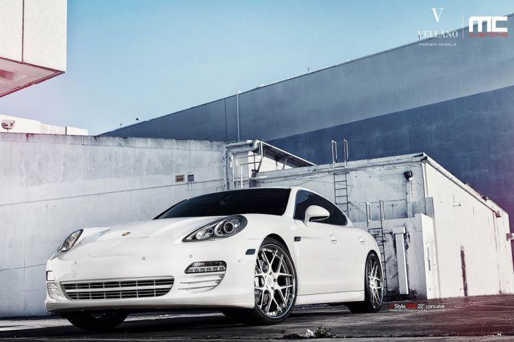 white cars panamera Porsche Tuning vellano wheels wallpaper