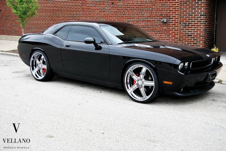 black cars challenger Dodge supercharger Tuning vellano wheels wallpaper
