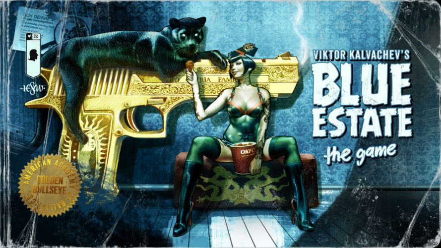 BLUE ESTATE rail shooter comics action wallpaper