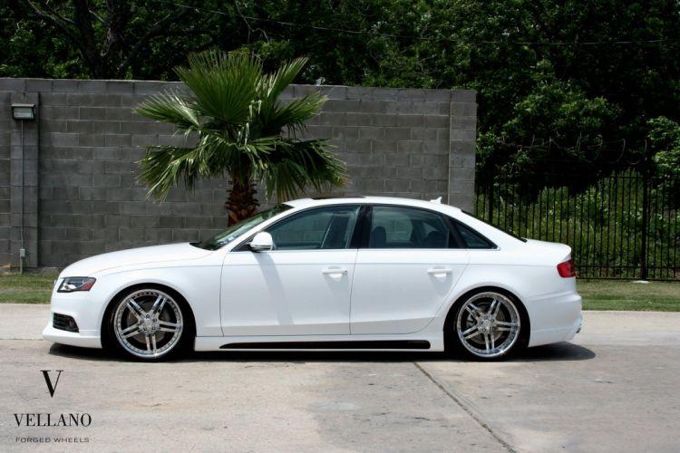 Audi A4 white germany Vellano wheels tuning cars wallpaper