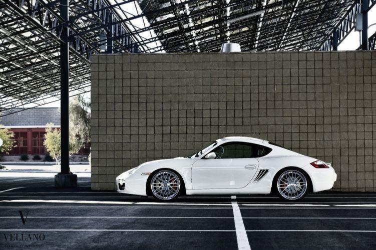 Porsche Cayman white germany Vellano wheels tuning cars wallpaper