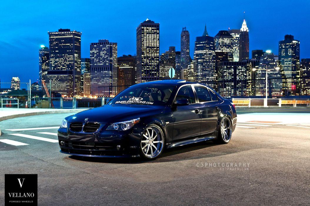 Blue BMW E60 5-series germany Vellano wheels tuning cars wallpaper