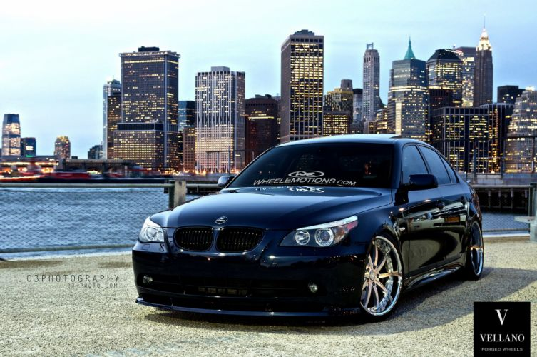 Blue BMW E60 5-series germany Vellano wheels tuning cars wallpaper