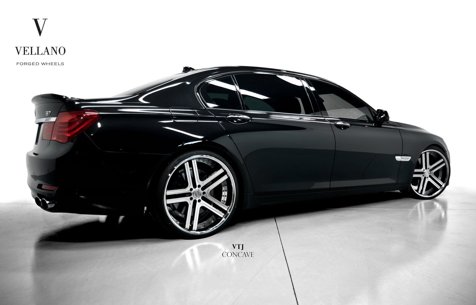 Black Cars Wallpaper 7 Background: BMW 7-SERIES Black Vellano Wheels Tuning Cars Wallpaper