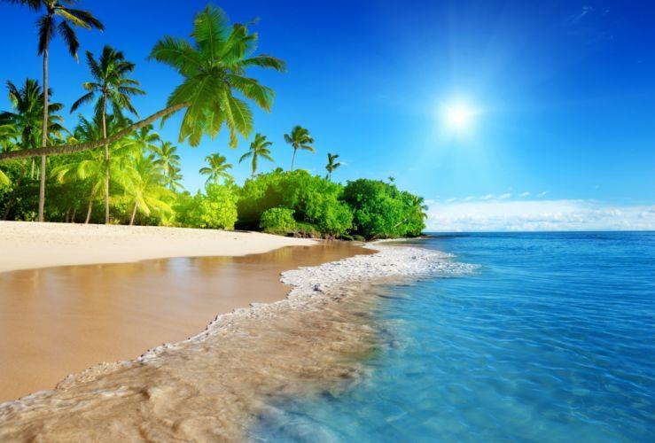 sunshine beach coast tropical paradise blue sea sky emerald wallpaper