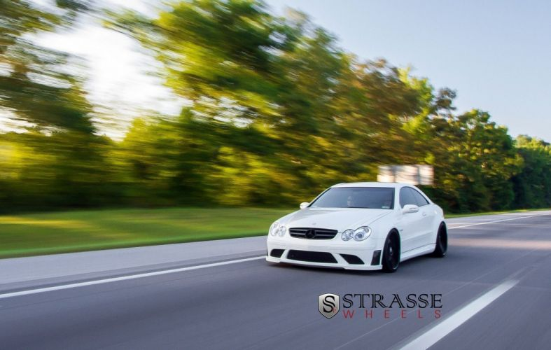 mercedes CLK63 AMG Black Series white germany Strasse Wheels tuning cars wallpaper
