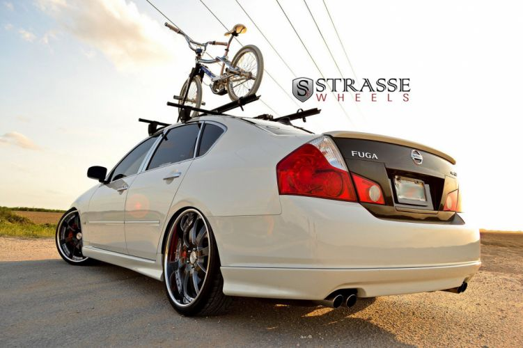 Infiniti M35 white bike Strasse Wheels tuning cars wallpaper