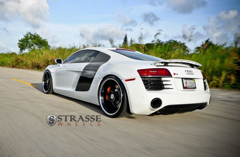 Audi R8 white germany Strasse Wheels tuning cars wallpaper