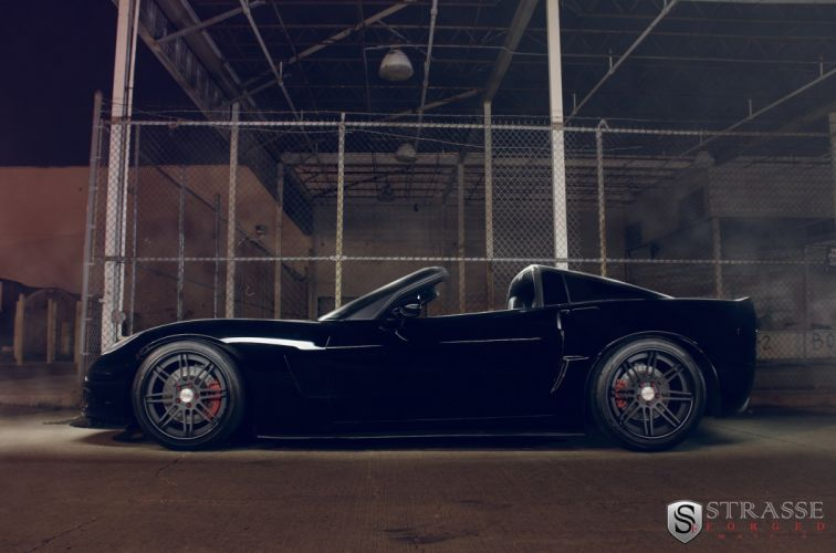 chevy Corvette Z06 black convertible Strasse Wheels tuning cars wallpaper