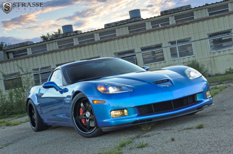 Blue cars chevy Corvette strasse Tuning wheels Z06 wallpaper