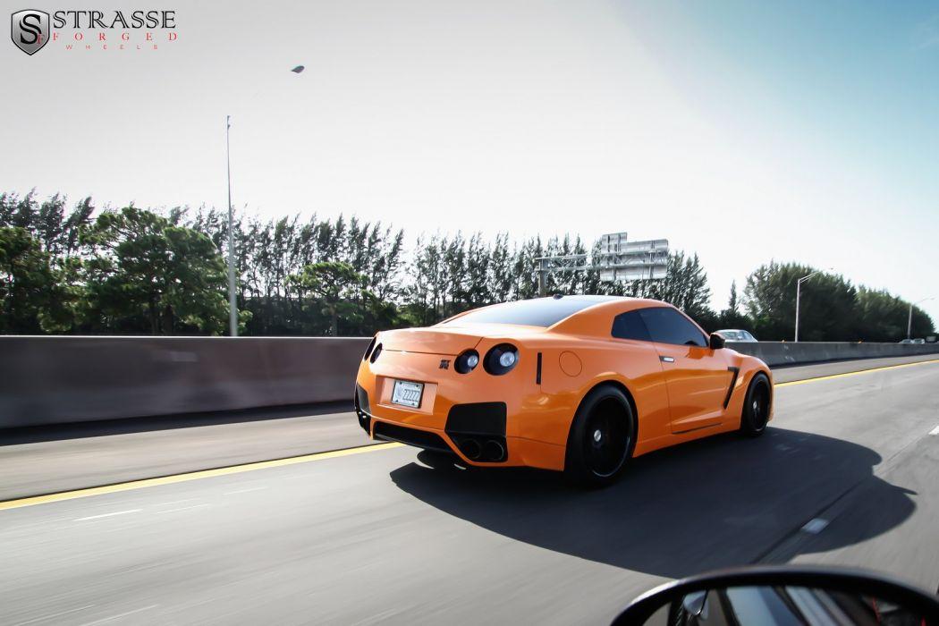 cars orange GTR Japan Nissan strasse Tuning wheels wallpaper