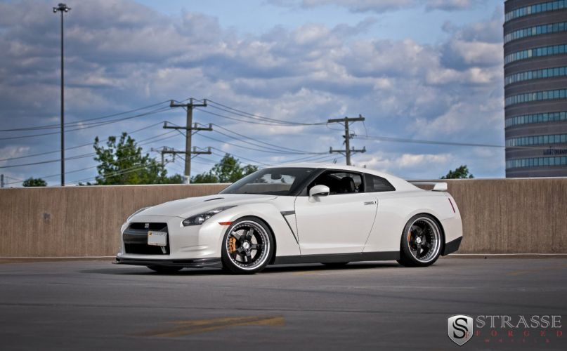 cars white GTR Japan Nissan strasse Tuning wheels wallpaper