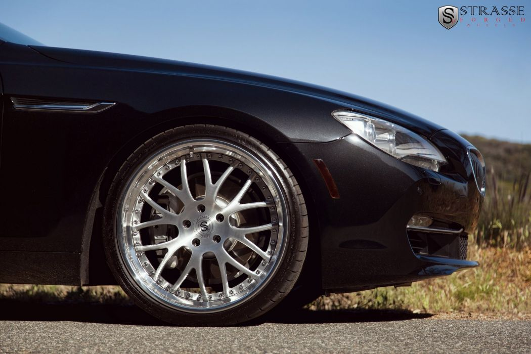 BMW 640i convertible black Strasse Wheels tuning cars wallpaper