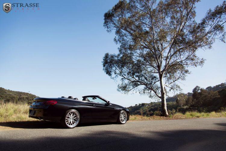 BMW 640i convertible black Strasse Wheels tuning cars wallpaper