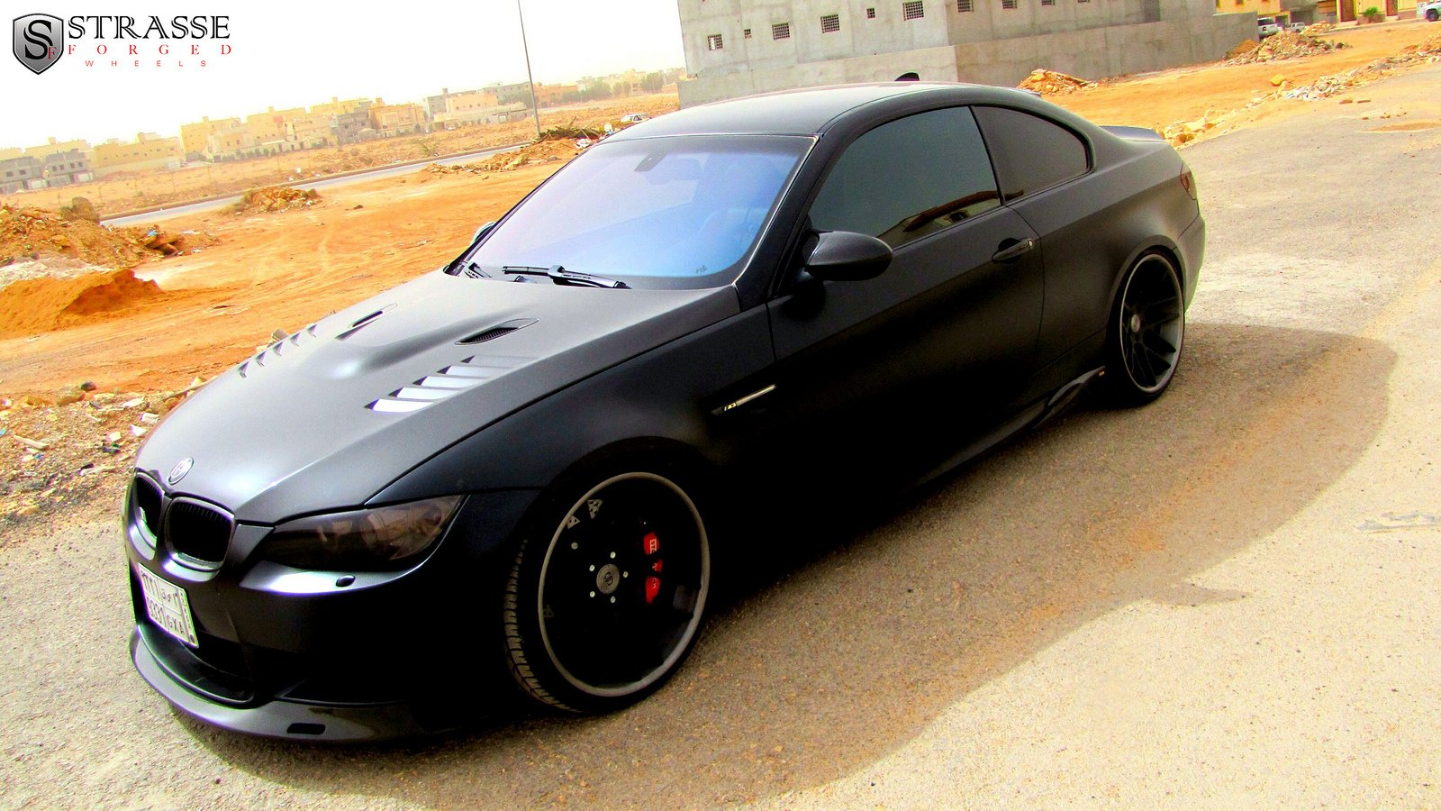 Bmw M3 E92 Black Strasse Wheels Tuning Cars Wallpaper