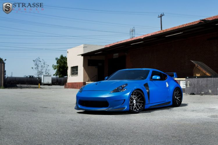 Supercharged 370Z nissan japan blue Strasse Wheels tuning cars wallpaper