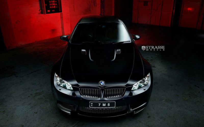 BMW M3 e92 black Strasse Wheels tuning cars wallpaper