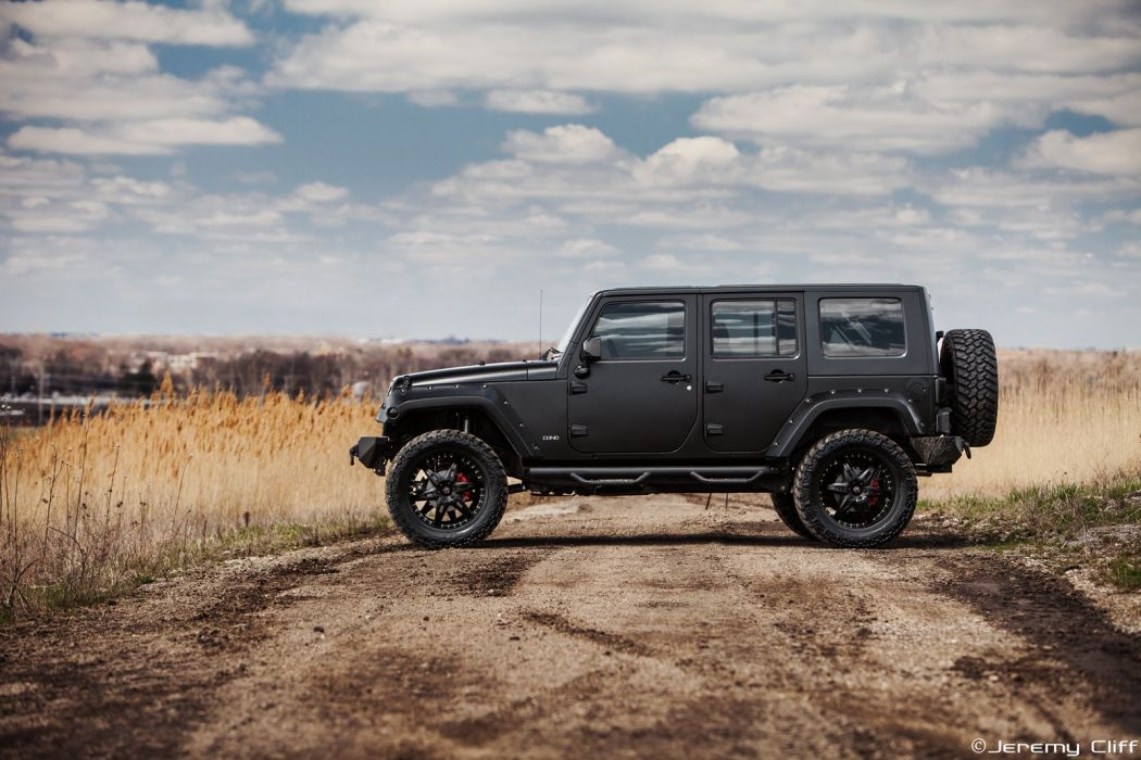 Supercharged Jeep Wrangler black suv car wallpaper