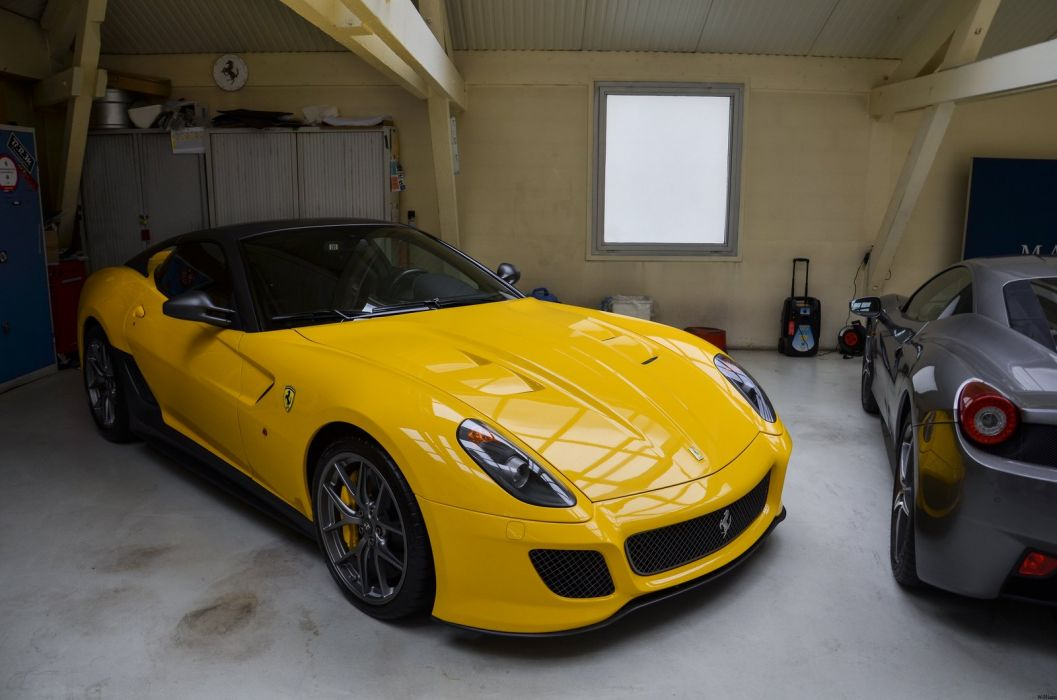 ferrari 599 GTO yellow supercar wallpaper