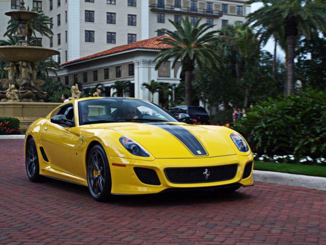 ferrari 599 GTO yellow supercar wallpaper