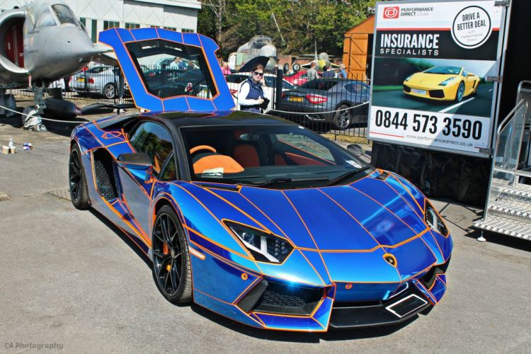 Lamborghini Aventador LP700-4 chrome blue tuning supercars wallpaper