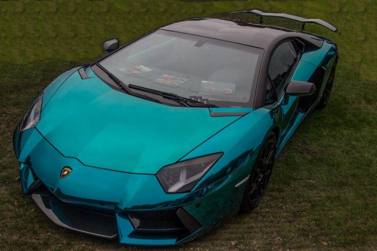 Aventador blue Chrome Lamborghini lp700 supercars Tuning wrapping wallpaper