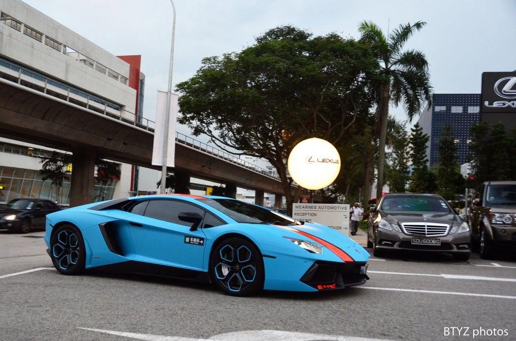 Aventador Lamborghini lp700 supercars Tuning blue wrapping wallpaper