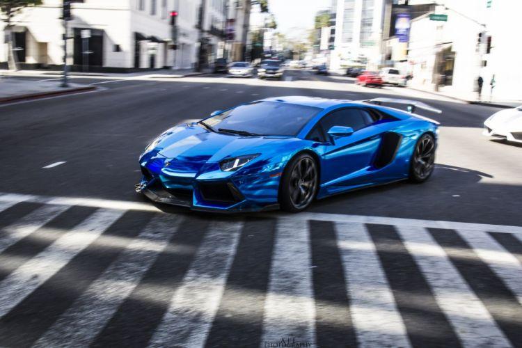 Aventador Lamborghini lp700 supercars Tuning blue chrome wrapping wallpaper