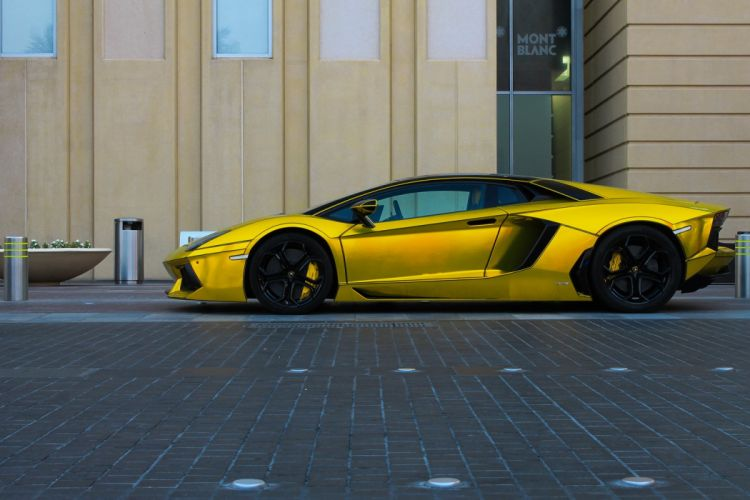Aventador Lamborghini lp700 supercars Tuning yellow chrome wrapping wallpaper