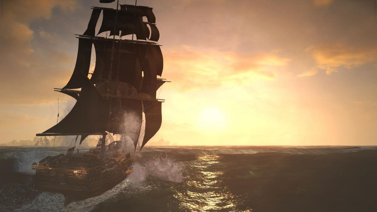 Assassin's Creed Black Flag Sunset Water Sea Ship Jackdow wallpaper