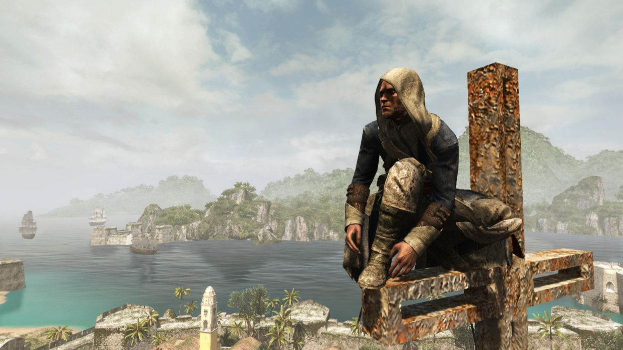 Assassin's Creed Black Flag Edward Kenway Cross Sea Water Hawana Ship wallpaper