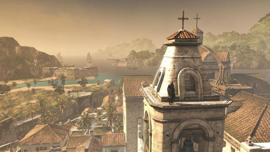 Assassin's Creed Black Flag Edward Kenwey Ship Sea Hawana City Church Tower Cross wallpaper
