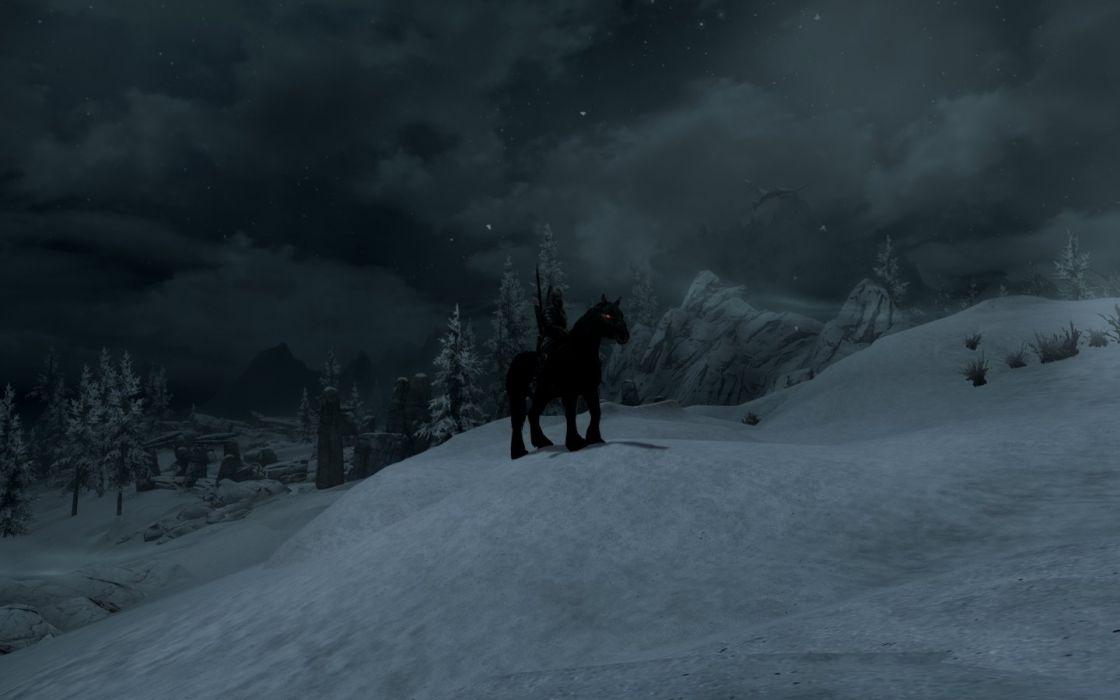 The Elder Scrolls Skyrim Shadowmere Mountains Snow Dragon Night wallpaper