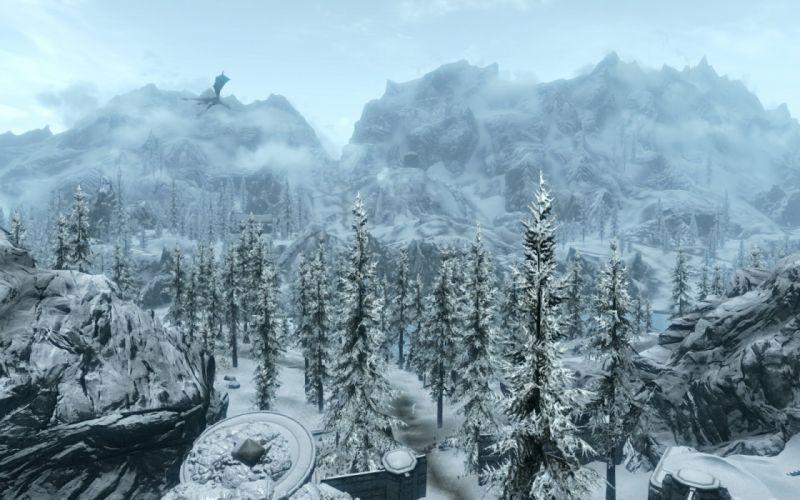 The Elder Scrolls Skyrim Mountains Fores Dragon wallpaper