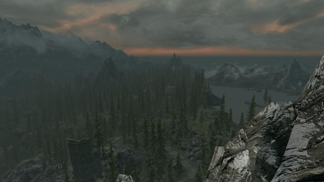 The Elder Scrolls Skyrim Forest Sunset Mountains Clouds Tower wallpaper