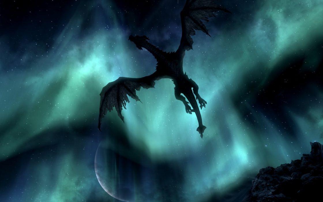 The Elder Scrolls Skyrim Paarthurnax Moon Night Dragon Aurora Borealis wallpaper