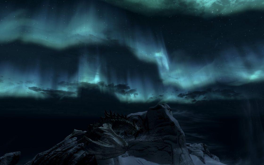 The Elder Scrolls Skyrim Paarthurnax Aurora Borealis Night Mountain Throat of the World wallpaper