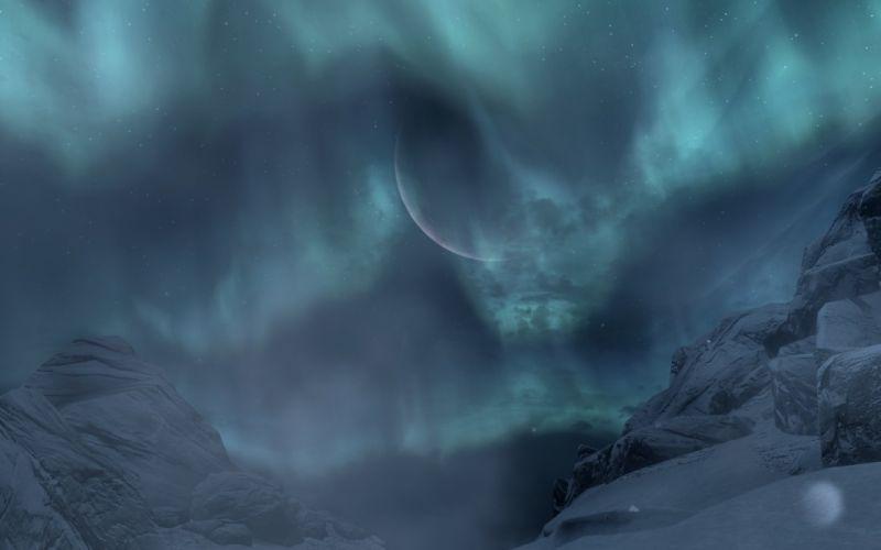 The Elder Scrolls Skyrim Aurora Borealis Night Mountain Throat of the World wallpaper
