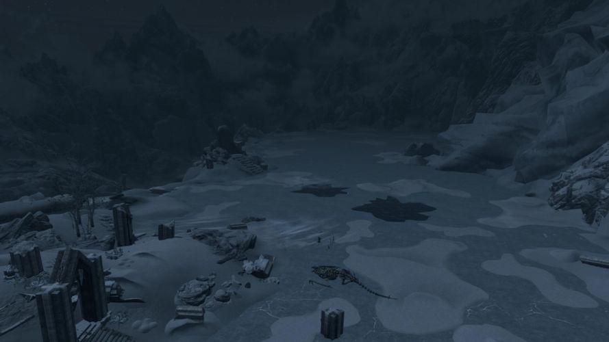 The Elder Scrolls Skyrim Dawnguard Dragon Skeleton Frozen Lake wallpaper