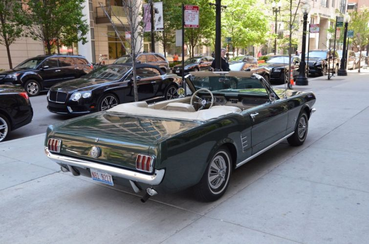 1966 Ford Mustang convertible green vintage wallpaper