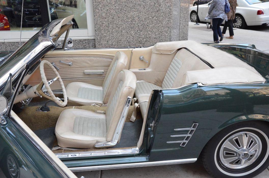 1966 Ford Mustang convertible green vintage wallpaper