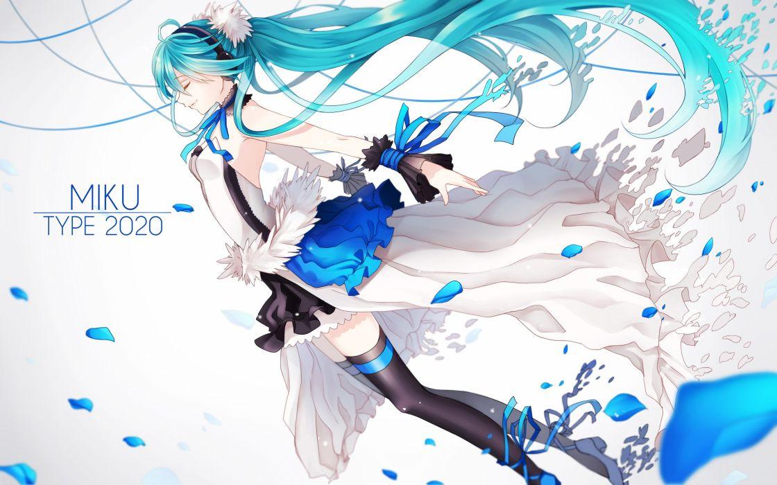 7th dragon 2020 blue hair choker dress hatsune miku headphones ling (vivianling) long hair petals ribbons thighhighs vocaloid wristwear wallpaper