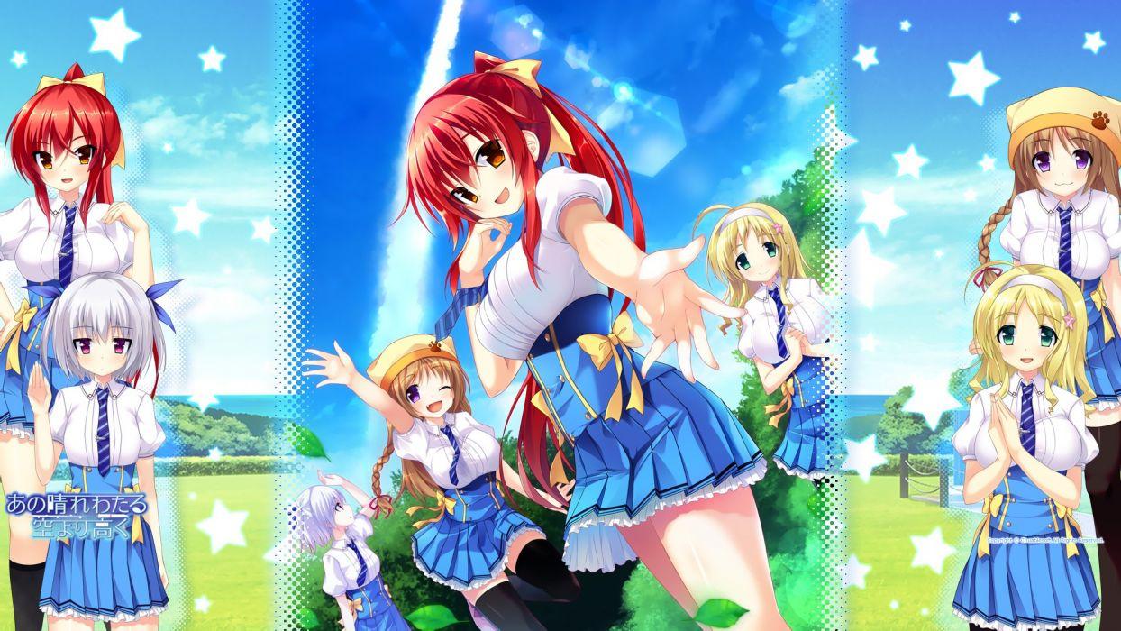 akatsuki arisa ano harewataru sora yori takaku chiri (atlanta) chuablesoft game-style ibuki naduna michibiki honoka reimei kaho seifuku wallpaper