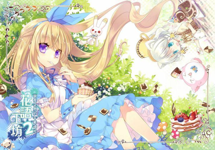 alice in wonderland animal ears blonde hair blue eyes dress food ikusabe lu lolita fashion original strawberry wallpaper