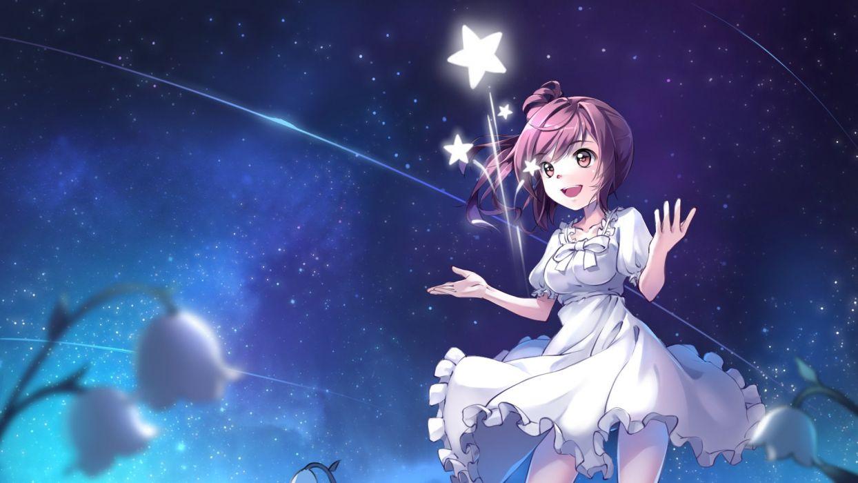 ame no uta cevio dress night satou sasara sky stars wallpaper