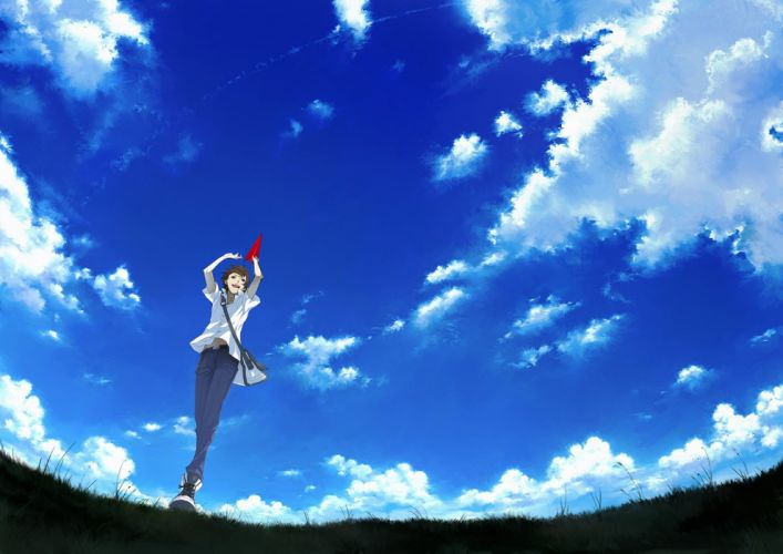 all male brown hair clouds grass male original paper scenic seifuku short hair sky tottome wallpaper