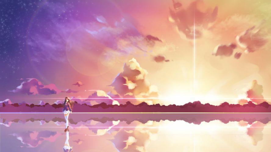 ame no uta clouds nico nico singer scenic sky sunset wallpaper