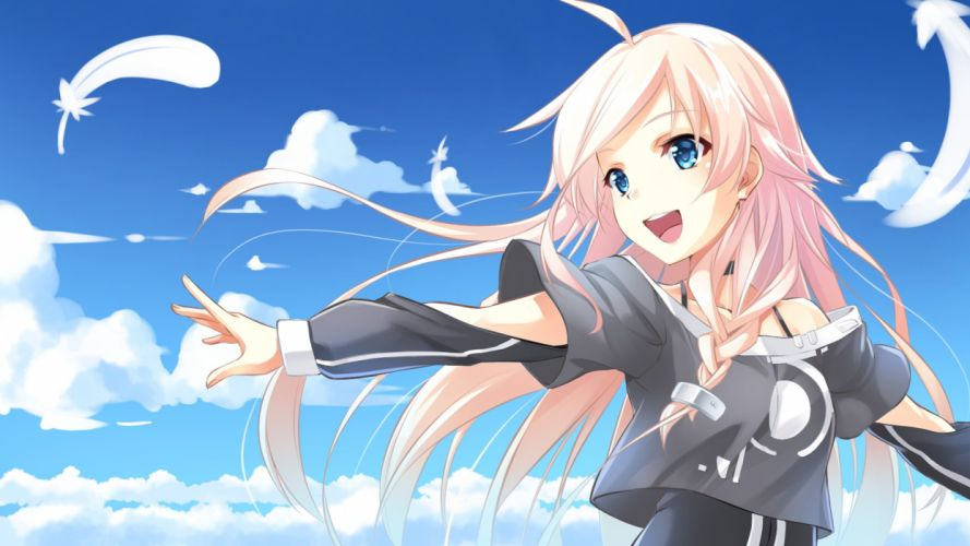 ame no uta blonde hair blue eyes braids clouds feathers ia vocaloid wallpaper