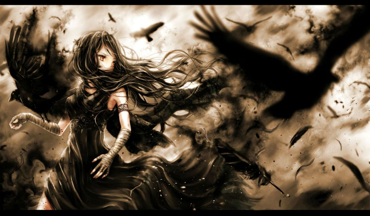 animal bandage bird black hair brown eyes dress feathers long hair nuwanko original wallpaper